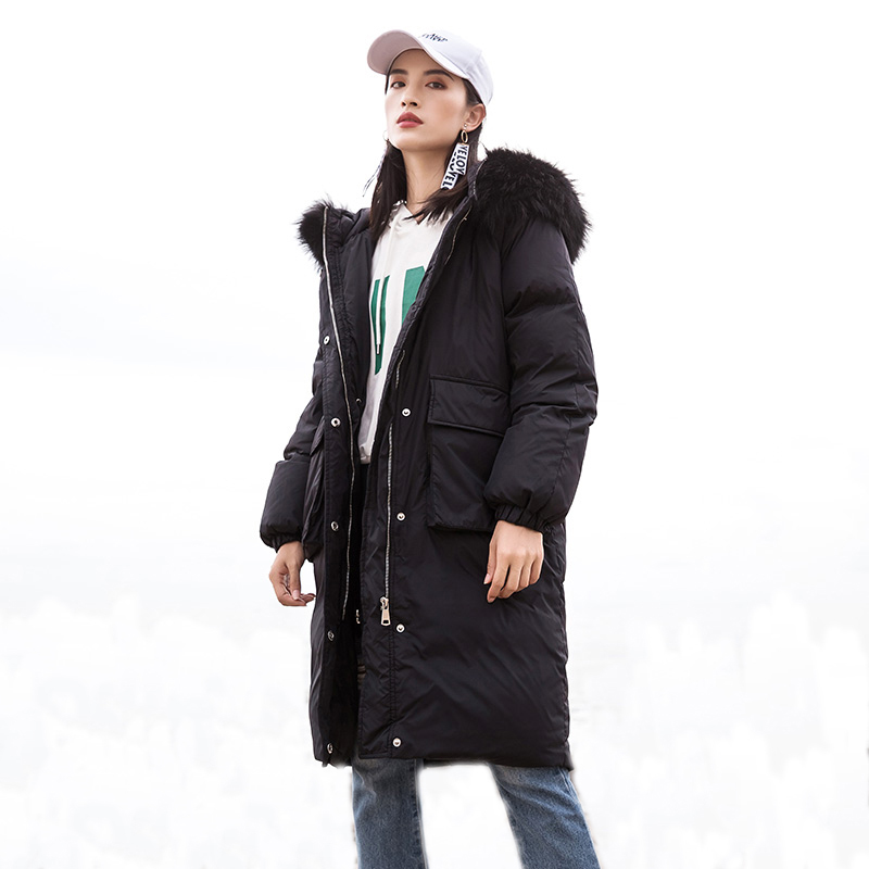 Fashion Big Fur Collar   Down   Jackets Women Winter Thicken Long Hooded   Down     Coat   White Duck   Down   Parkas Outwear YP2097