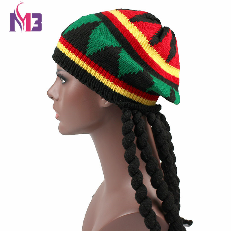 New Casual Men Women Rasta Knit Hat Fancy Dress Party Hippie Beret Dreadlocks Wig Jamaican Bob Marley Hat