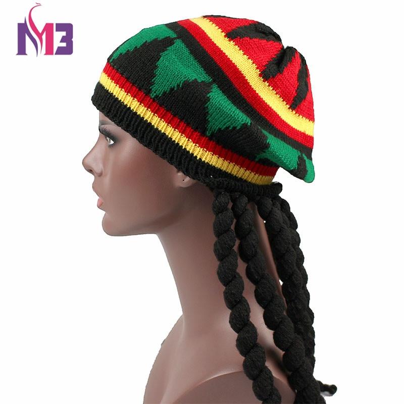 Nuovi Uomini Casuali Donne Rasta Knit Hat Fancy Dress Partito Hippie Beret  Dreadlocks Parrucca Giamaicano Bob abaaa9682317