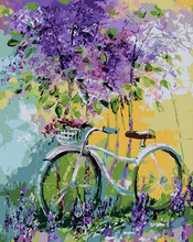 Frameless Bicycles in Flowers DIY Painting By Numbers Wall Art Home Decor Hand Painted Oil Acrylic Paint For Room