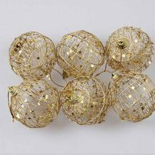 6pcs Christmas Tree Gold Ball Baubles Hanging Party Ornament Decoration