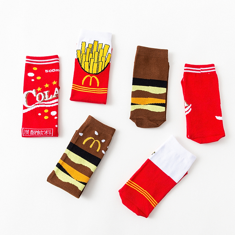Ins Style Men Funny Food French Fries & Coke Patterned Red Colored Socks Customized Original Happy French Fries Long Warm Sox