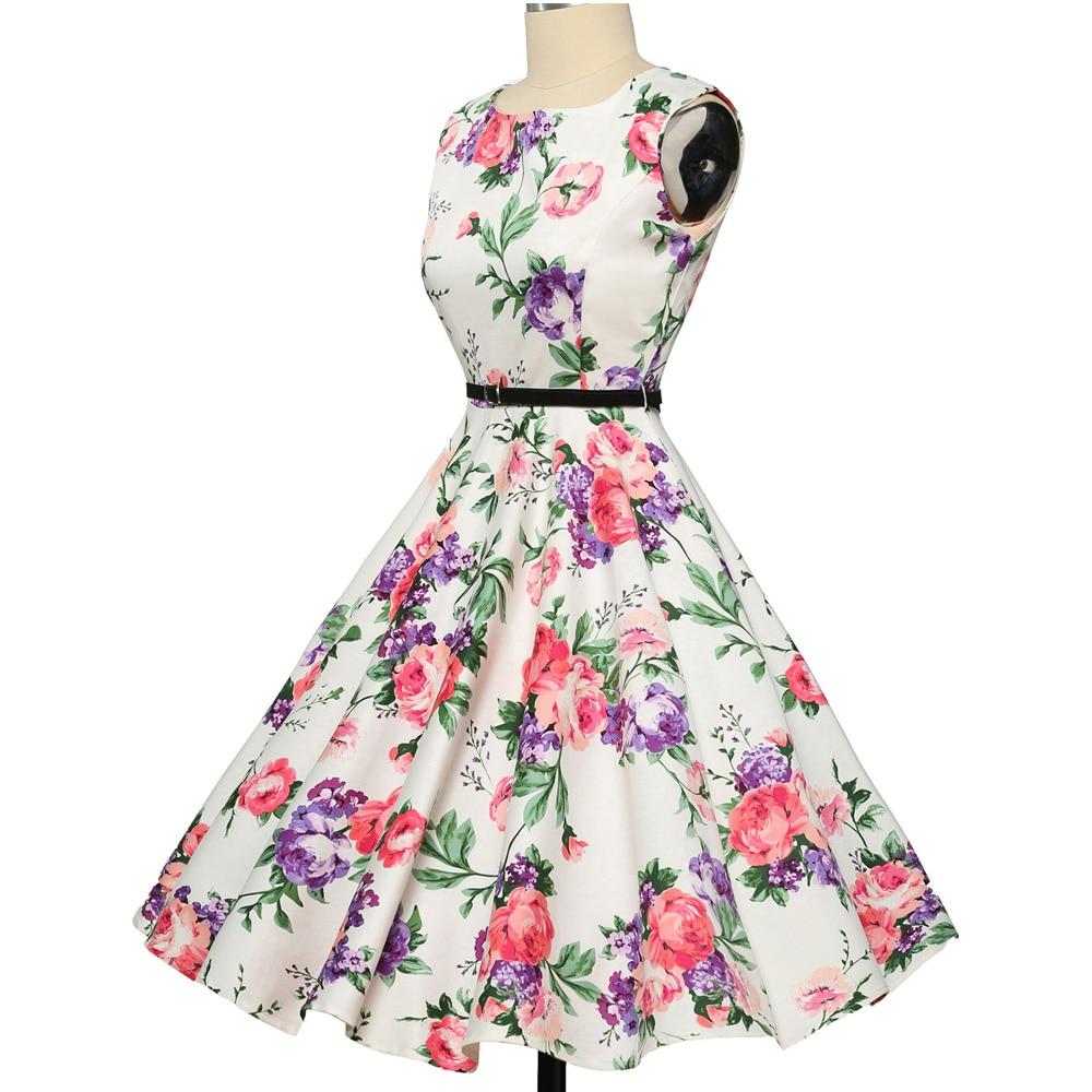 Wanita musim panas dress 2018 wanita floral retro vintage dresses 50 - Pakaian Wanita - Foto 4