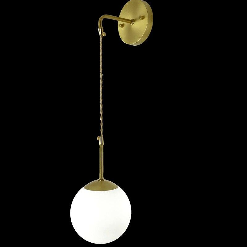 Moderne Vintage Loft Industriel Réglable boule de cuivre Mur Lumière rétro en laiton mur de verre lampe pays style Applique Lampe Appareils