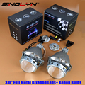Upgrade Full Metal 3.0 HID Bi xenon Headlight Projector Lens Retrofit Tuning Lenses With Xenon Bulbs Fits H1 H4 H7 9005 9006