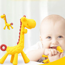 Cartoon Giraffe Shape Baby Teether Silicone BPA Free Infant Teething Toy New Necklace Hanging Toy For Baby Activity(China)
