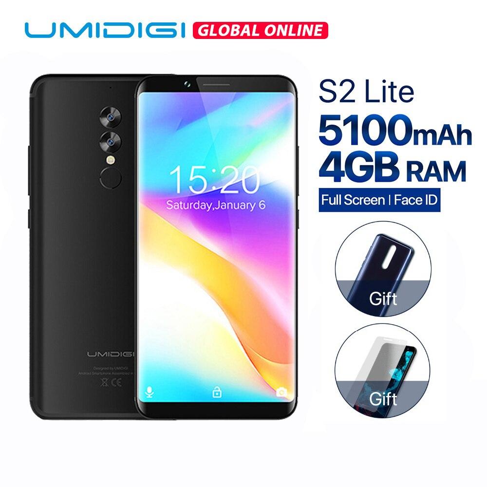 D'origine UMIDIGI S2 Lite 6.0 18:9 Plein sreen Smartphone Android 7.0 4 gb + 32 gb Mobile Téléphone 5100 mah 16MP Double Cam 4g téléphones cellulaires