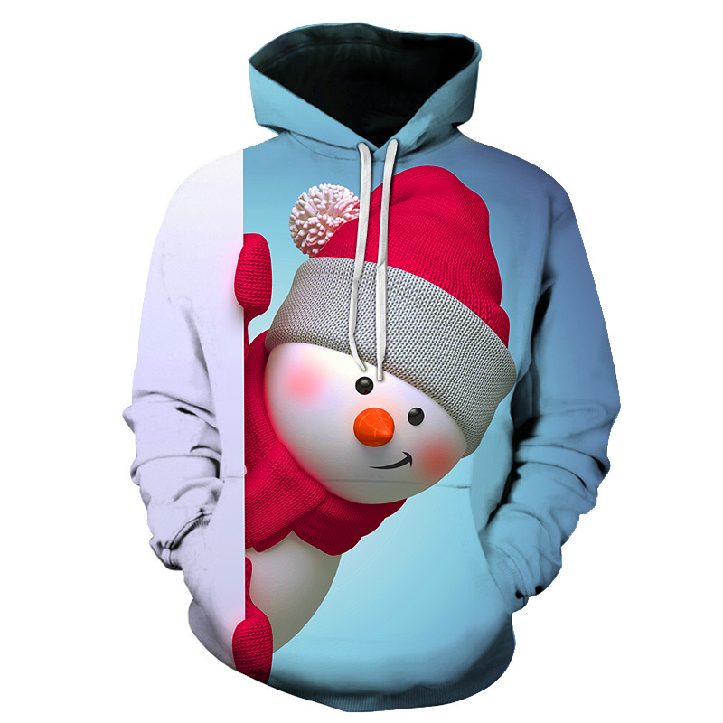 Snowman Christmas 3D Print Women/Men Sweatshirt Hoodies Long Sleeve Hip Hop Tracksuit Pullover Tops Comfortable Style Price: US
