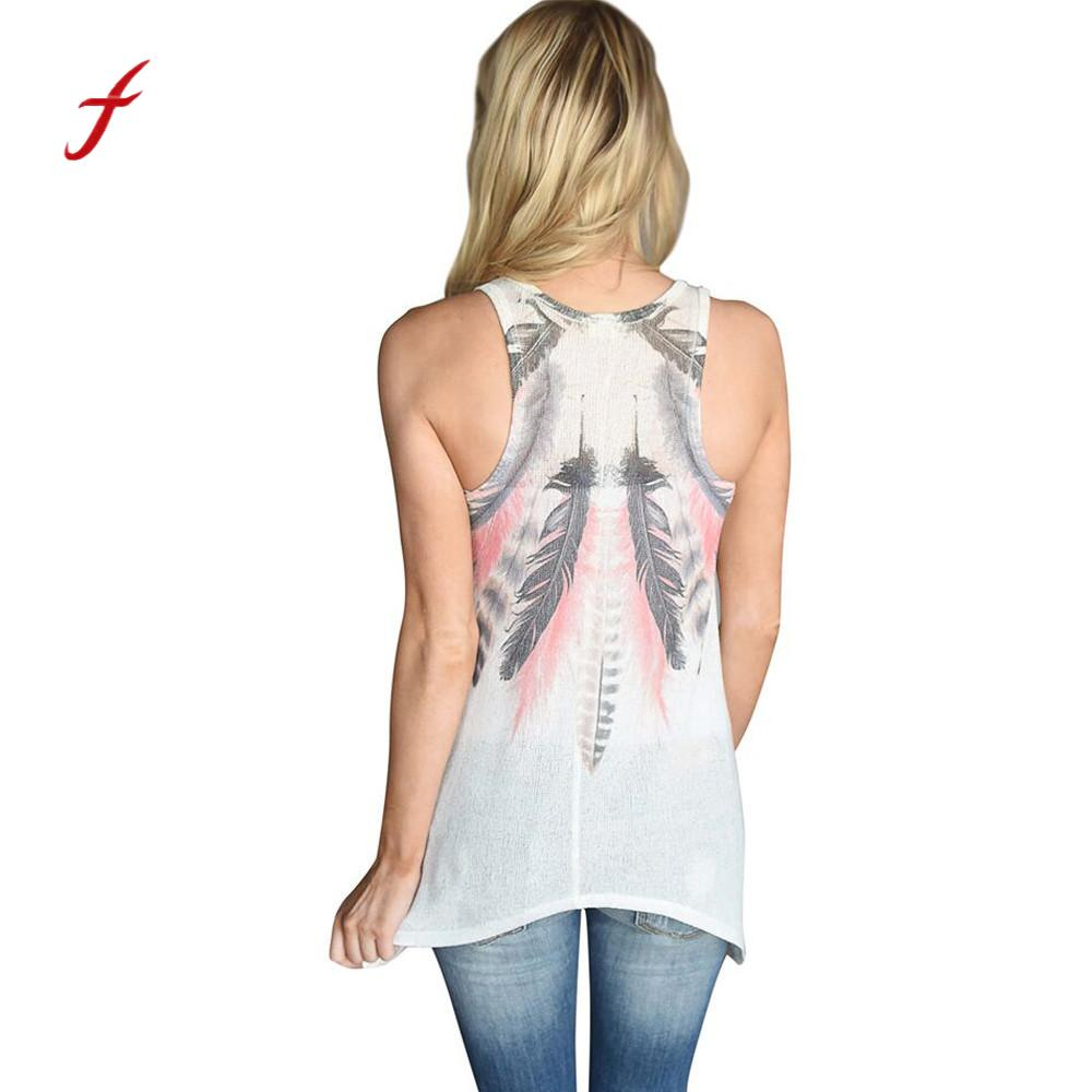 aba65b47e Women Plus Size Large Feather Print Stylish Sleeveless Shirts Casual ...