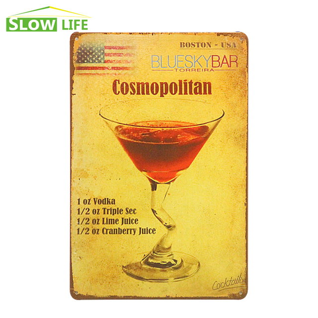 Cosmopolitan Cocktail Metal Tin Sign Bar/Pub/Hotel Wall Decor