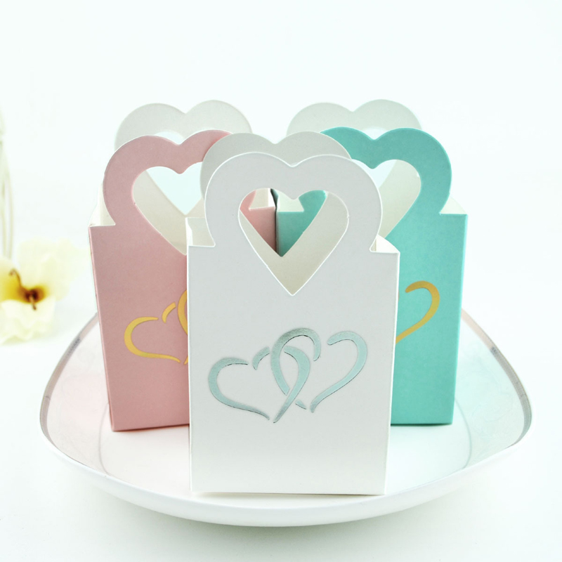 50pcs White Pink Blue Creative European Candy Bag Box Love Heart Mini Handbag Wedding Party Christmas Snack Cookie Gift Bags