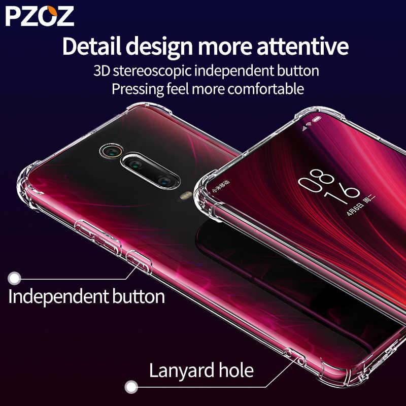 Pzoz para xiaomi vermelho mi k20 pro caso capa silicone à prova de choque vermelho mi k20 7a transparente clara proteção xiaomi mi a2 a3 mi 9t 8