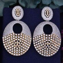 GODKI 63mm Luxury Popular Geometry Lantern Half Butterfly Full Mirco Prong Cubic Zirconia Naija Wedding Earring Fashion Jewelry