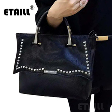 Black Diamond Rhinestone Horsehair High Quality Famous Designer Handbags Women Small Crossbody Bags Horse Hair Messenger Bag
