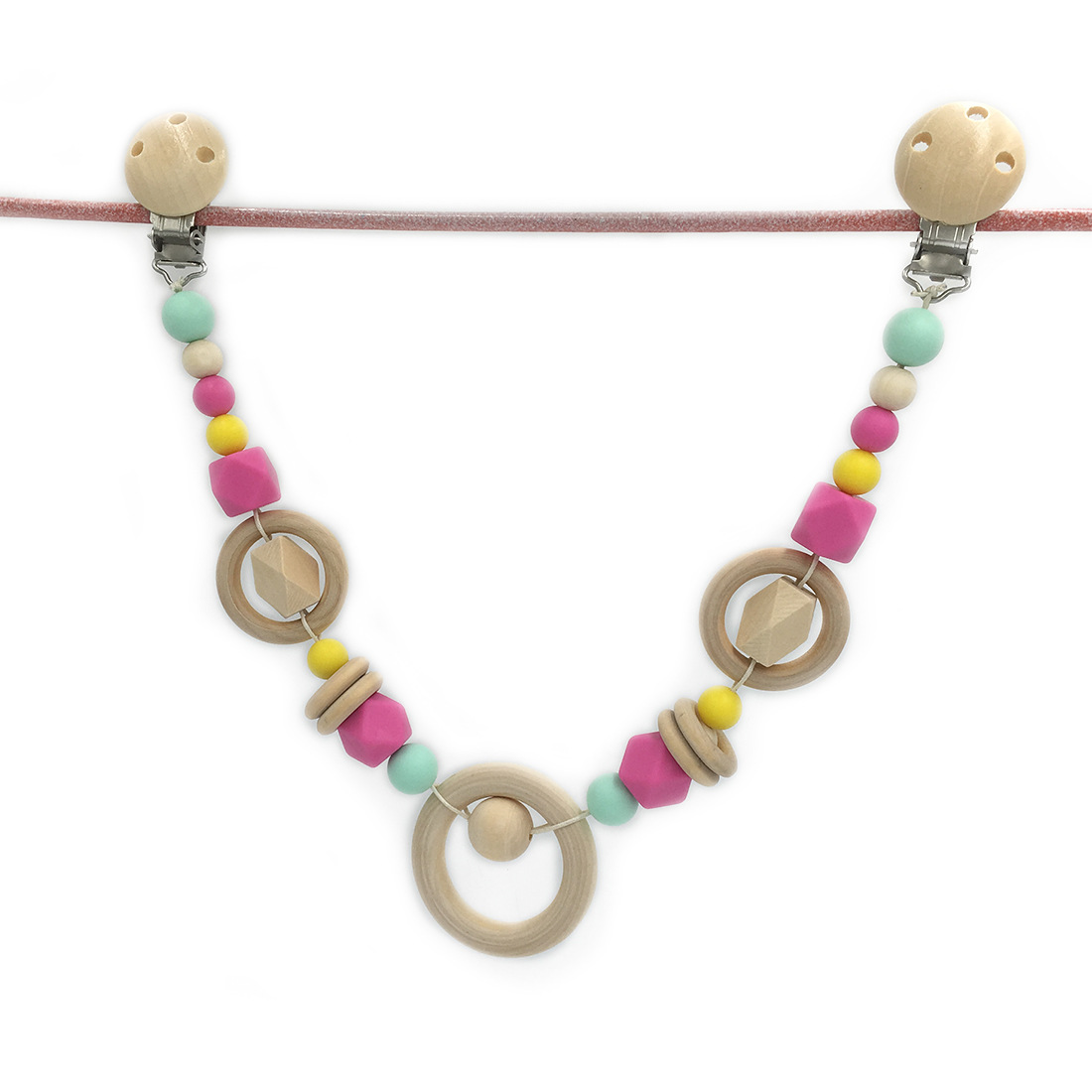 Baby stroller chain with clips Car seat chain Pram chain Beads are safe for teething Stylish Wooden teething ring