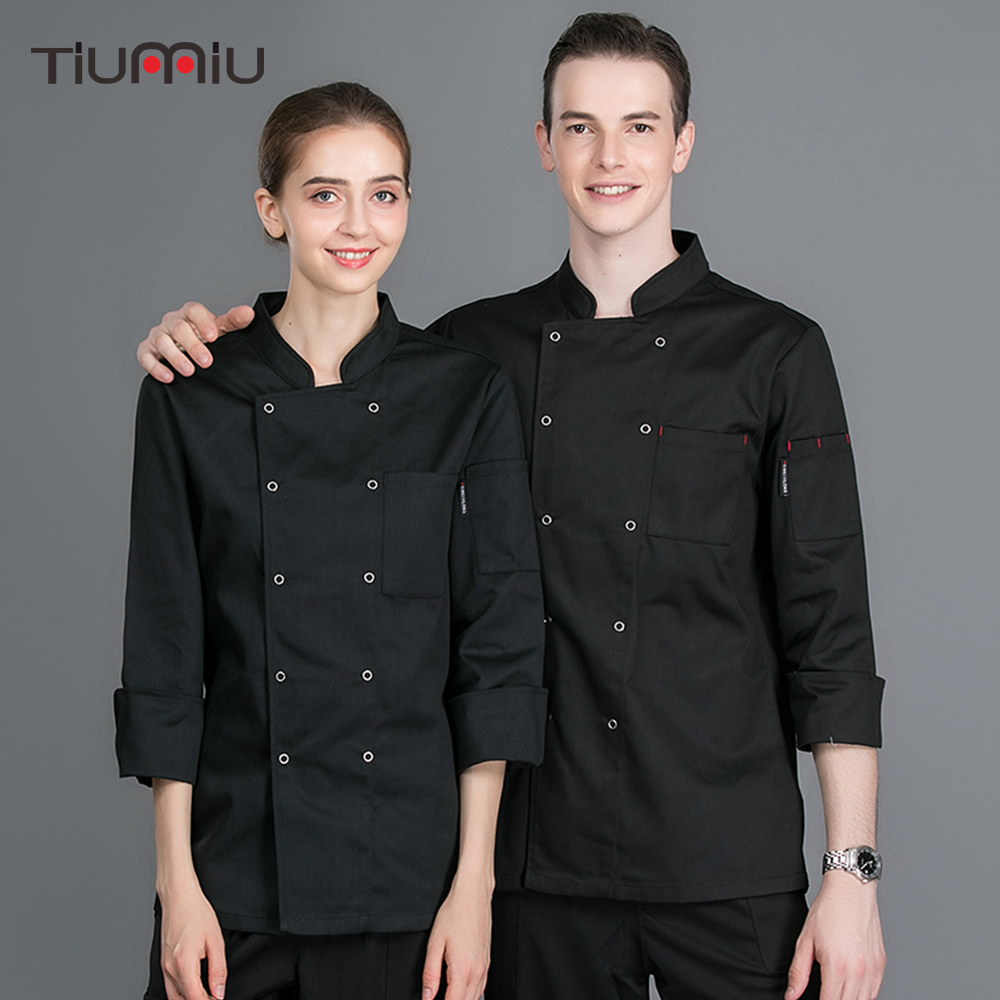 Unisex Long Sleeve Chef Cooking Jacket Sushi Chef Coat Waitress Waiter Restaurant Kitchen Bakery Caffee Work Uniform Men Women