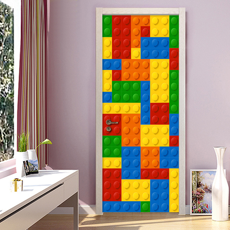 Image 4 - 3D Wall Mural Wallpaper Kids Room Lego Bricks Children Room Bedroom Decoration Self adhesive Door Sticker PVC Mural Waterproof-in Wallpapers from Home Improvement
