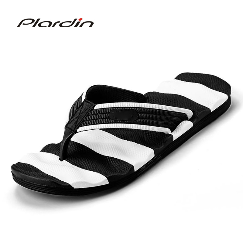 Plardin 2018 Summer Casual men's Flip Flops Flat Sandals Shoes For men Striped Flip Flops Beach Sandals Shoes Man Outside Shoes casual men s sandals with striped and velcro design
