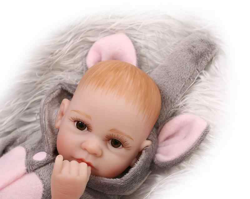 27 см слон Bebe Reborn полное тело силикон Кукла реборн мини младенцев серый комбинезон Boneca Игрушки для девочек подарок Juguetes brinquedos
