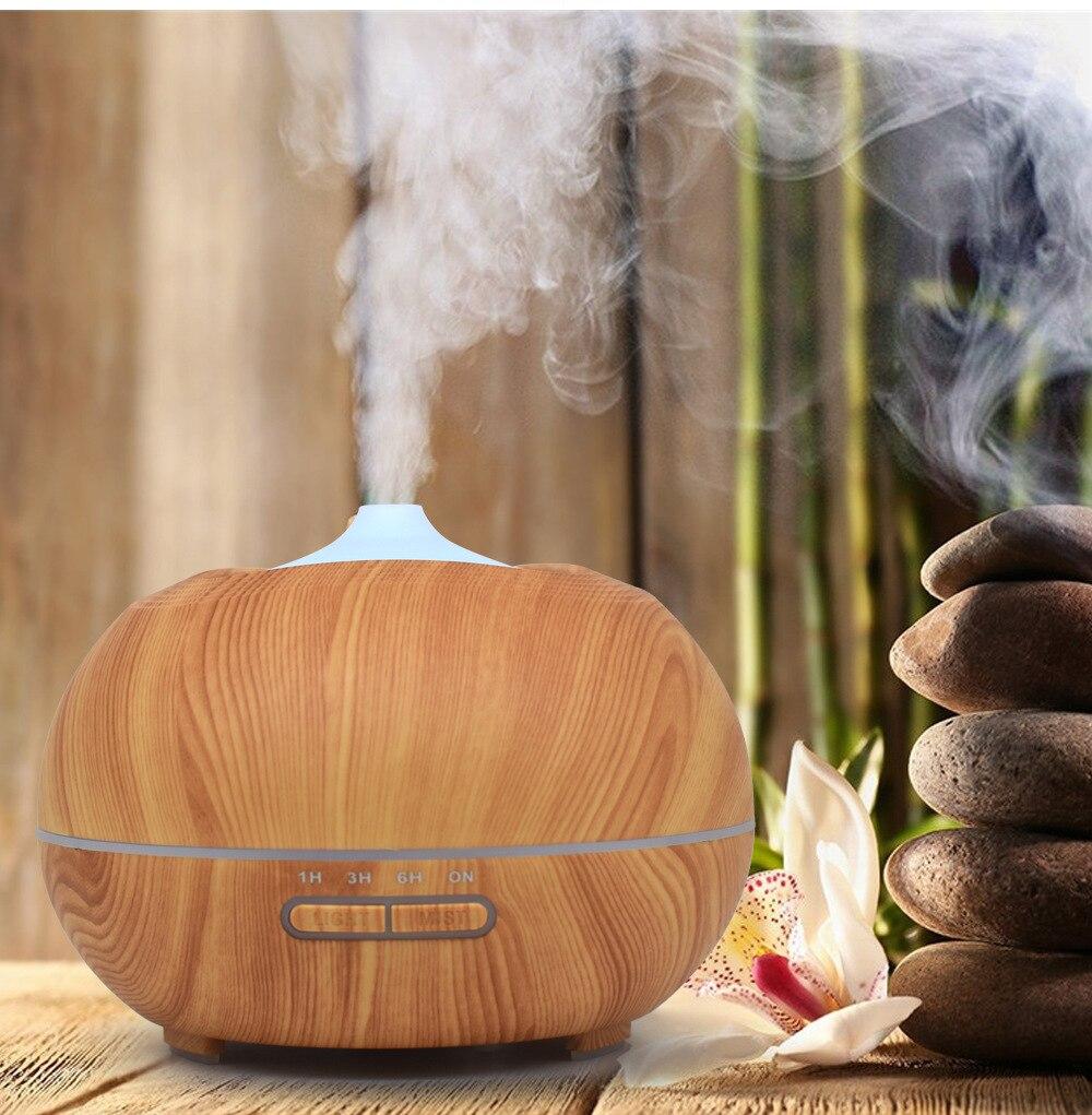Nouveau style en bois humidifiant aromathérapie lampe forme ronde bois parfum veilleuses salon intérieur lampe de table
