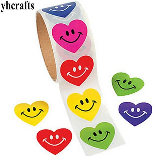 1 rouleau (100 pièces)/LOT couleur sourire coeur papier autocollants activité artisanat école récompense étiquette maison ornement décoration cadeaux bricolage jouets