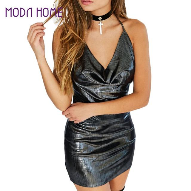 Sexy Frauen Mini, Figurbetontes Kleid Halter Strappy Backless Wet ...