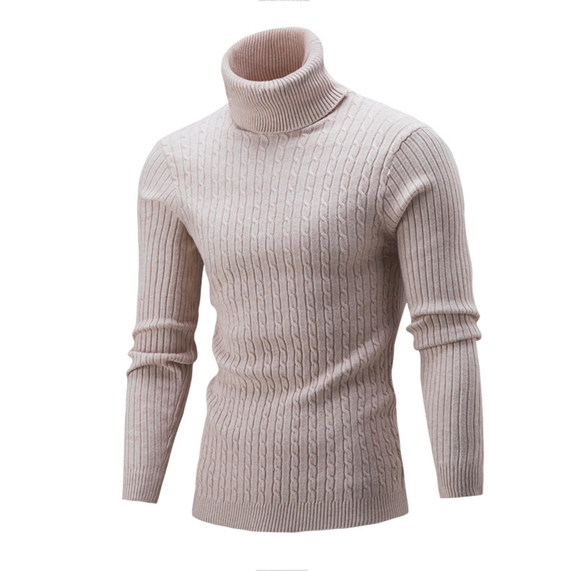 New Arrivals Men Sweater Winter Brand Solid Simple Slim Male High Neck Sweater Male Outerwear Jumper Knitted Pullovers Sweaters