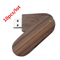 Custom LOGO 10 pcs/lot New Personalized Walnut Swivel USB Flash Drive Free Engraving (512MB 1GB 2GB 4GB 8GB 16GB 32GB)
