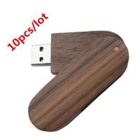 Custom LOGO 10 pcs/lot New Personalized Walnut Swivel USB Flash Drive Free Engraving (512MB 1GB 2GB 4GB 8GB 16GB 32GB)