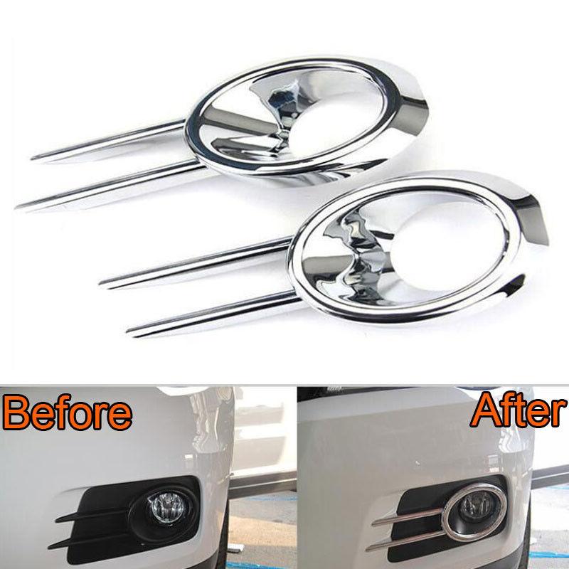 2Pcs Chrome ABS Car Bumper Front Fog Light Lamp Cover Grille Trim for VW Volkswagen Tiguan 2010-2013