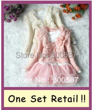 New hot retail 2016 Girls 2pcs Sets coat+Tutu Cake one-piece Dress childrens suits outfits Clothing free shipping