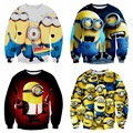Tide High Quality Boy Baseball Wear 3D Digital Print Cartoon Pattern Round Collar Sweater Hip Hop Clothing 12-18 years old