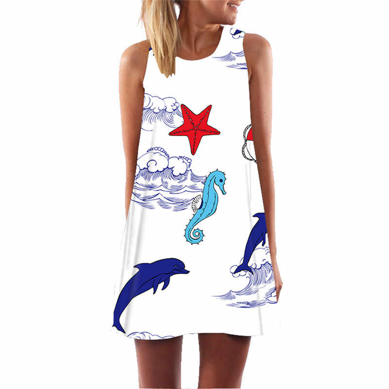Showtly hippocampus zeester zomer jurk 2019 plus size vrouw party night bohemian elegant beach casual jurk