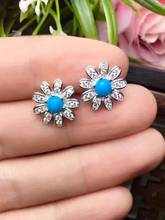 natural blue turquoise stone stud earrings 925 silver Natural gemstone earring women romantic flowers stud earrings for party