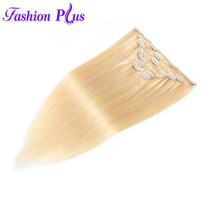 Fashion Plus Clip In Human Hair Extensions Machine Made Remy Straight Natural Hair Extension Full Head 7pcsSet 120g 18-22 Inch