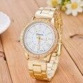 Genebra Marca de Relógios de Quartzo Das Mulheres Relógios 2016 Relógio de Ouro Quadrado Pulseira de Couro Moda Casual Assista reloj mujer montre femme