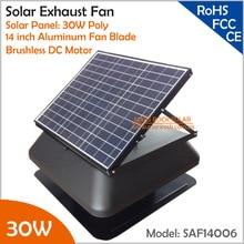 Бесщеточный двигатель Регулируемая солнечная панель 30 Вт 14 ''Солнечный вытяжной вентилятор с кабельным переключателем вентиляционный вентилятор themostat контроллер