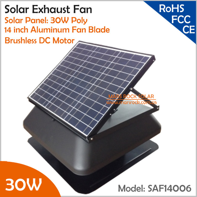Brushless Motor Adjule Solar Panel 30w 14 Exhaust Fan With Cable Switch Ventilation