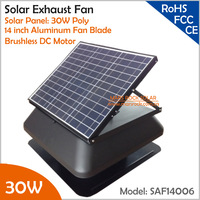 Brushless Motor Adjustable Solar Panel 30W 14'' Solar Exhaust Fan with cable switch ventilation fan themostat controller