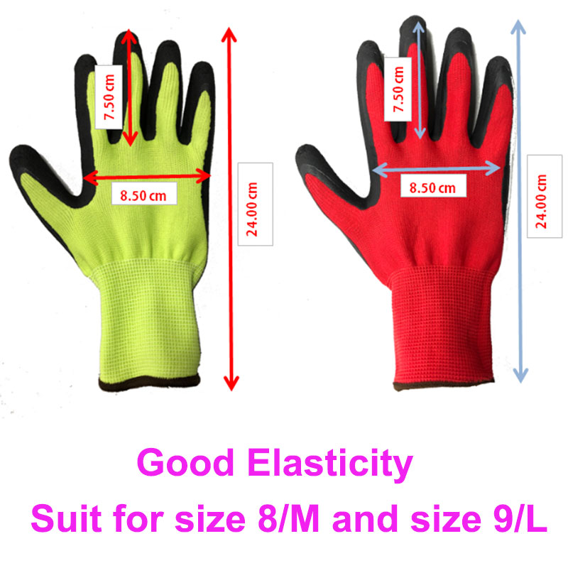 NMSafety 12 Pairs Protective Work Gloves For Gardening Industry with Colorful Polyester Dipping Foam Latex Safety Working Gloves