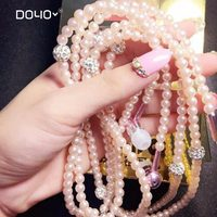 Fashion Jewelry Necklace Earphones with Mic Beads 3.5mm headset Connect to SmartPhone mp3