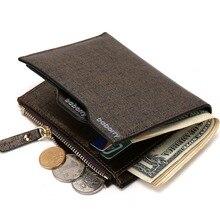 2017 Hombres cremallera Bolsa ID Tarjeta de Crédito Titular Monedero de La Moneda de Cuero de imitación Bifold Monedero Top Brand Wallet Bolsillos Promoción regalo