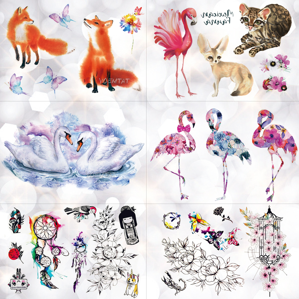 Swan flamingo Watercolor Temporary Tattoo Sticker Unicorn Fox Flowers Waterproof Tattoos Body Art Arm Fake Tatoo Women Girl