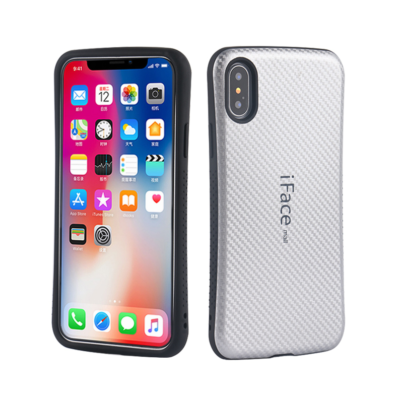 Carbon Fiber Iphone X 5.8 Inch Heavy Duty Shockproof Back Cover Hard Shell Full Protection Phone Cases