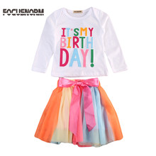 Baby Girl Kid Toddler ITS MY Birthday T-shirt tutu Skirt Dress Outfit Clothing Baby Girl Birthday Long Sleeve Top Clothing Set(China)