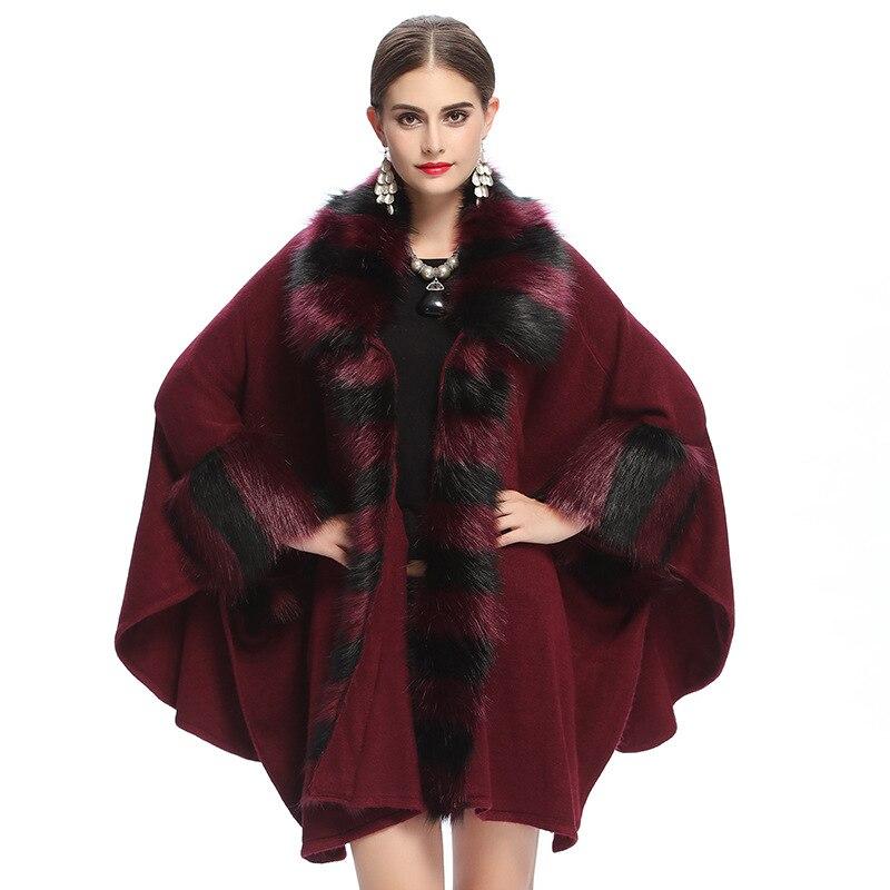 SWONCO Faux de lujo para capa de piel capa de abrigo de lana de invierno para mujer capa de piel larga Poncho perder mujer embarazada abrigo largo rojo
