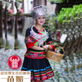 Chinese Hmong dance clothes ethnic Miao clothing Hmong hair accessory hat silver collar costume women's embroidered clothes