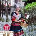 Chineses roupas de dança étnica Hmong roupas Miao Hmong roupas cabelo acessório chapéu bordado das mulheres do traje colar de prata