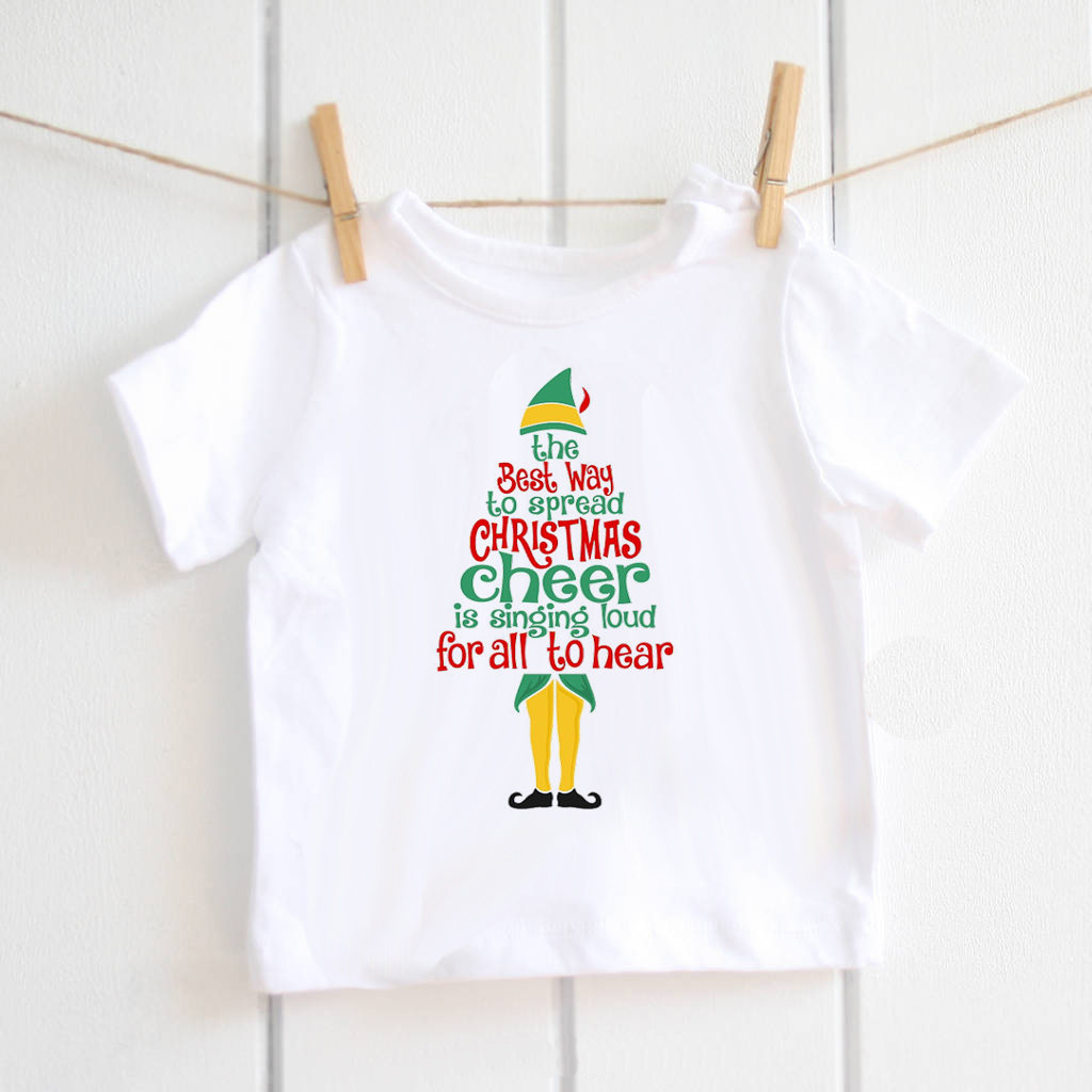 Christmas Cheer baby boys t-shirts Toddler Kids white letter t shirt for girls festival clothing gift tops tee modal ETM-R2103