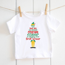 Christmas Cheer baby boys t-shirts Toddler Kids white letter t shirt for girls festival clothing gift tops tee modal ETM-R2103